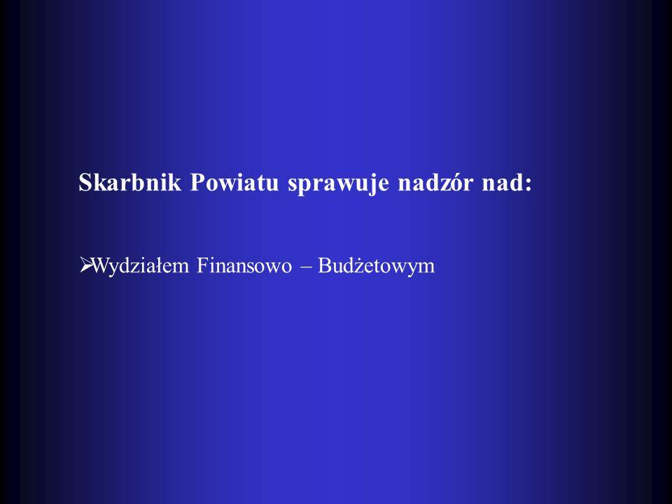 Skarbnik Powiatu sprawuje nadzór nad:
