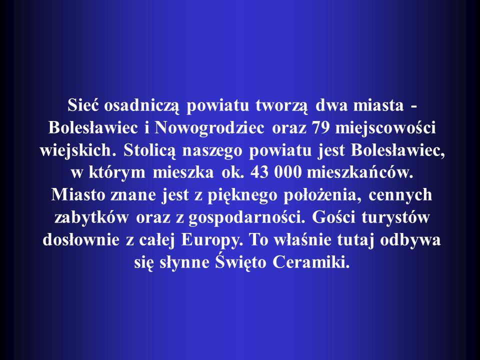 Sieć osadniczą powiatu tworzą dwa miasta - Bolesławiec i Nowogrodziec oraz 79 miejscowości wiejskich. Stolicą naszego powiatu jest Bolesławiec, w którym mieszka ok. 43 000 mieszkańców.