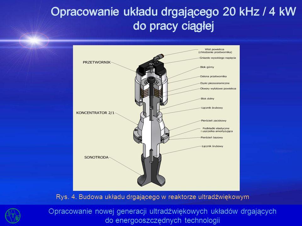 Opracowanie układu drgającego 20 kHz / 4 kW do pracy ciągłej