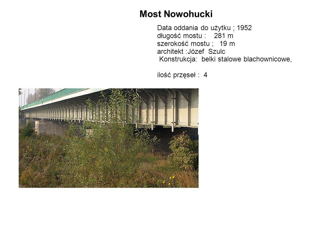 Most Nowohucki Data oddania do użytku ; 1952 długość mostu : 281 m