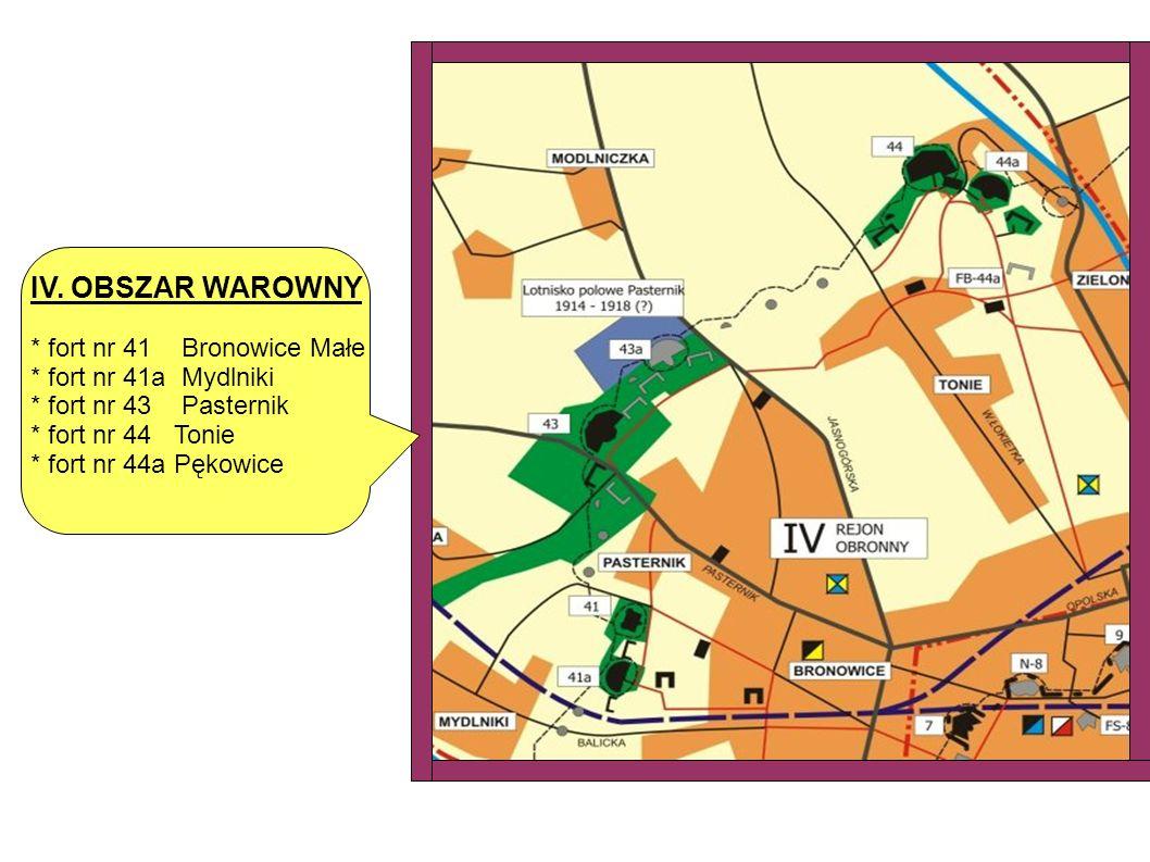 IV. OBSZAR WAROWNY * fort nr 41 Bronowice Małe * fort nr 41a Mydlniki