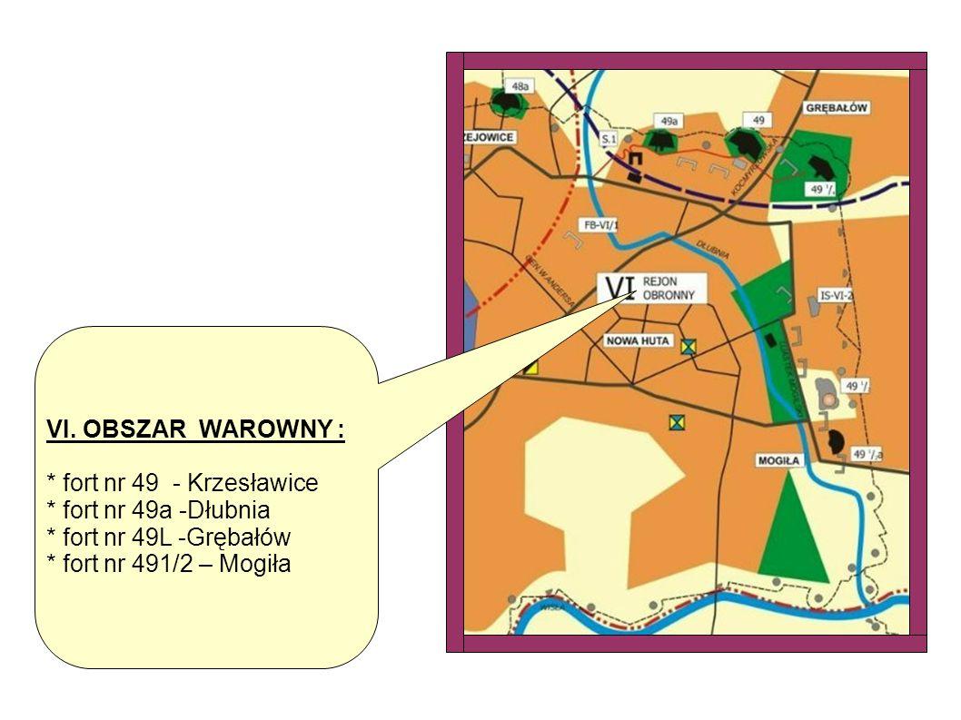 VI. OBSZAR WAROWNY : * fort nr 49 - Krzesławice. * fort nr 49a -Dłubnia. * fort nr 49L -Grębałów.