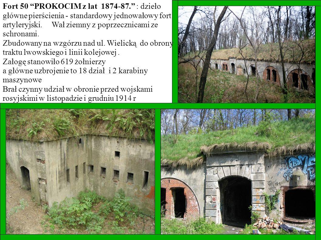 Fort 50 PROKOCIM z lat 1874-87. : dzieło główne pierścienia - standardowy jednowałowy fort artyleryjski. Wał ziemny z poprzecznicami ze schronami.