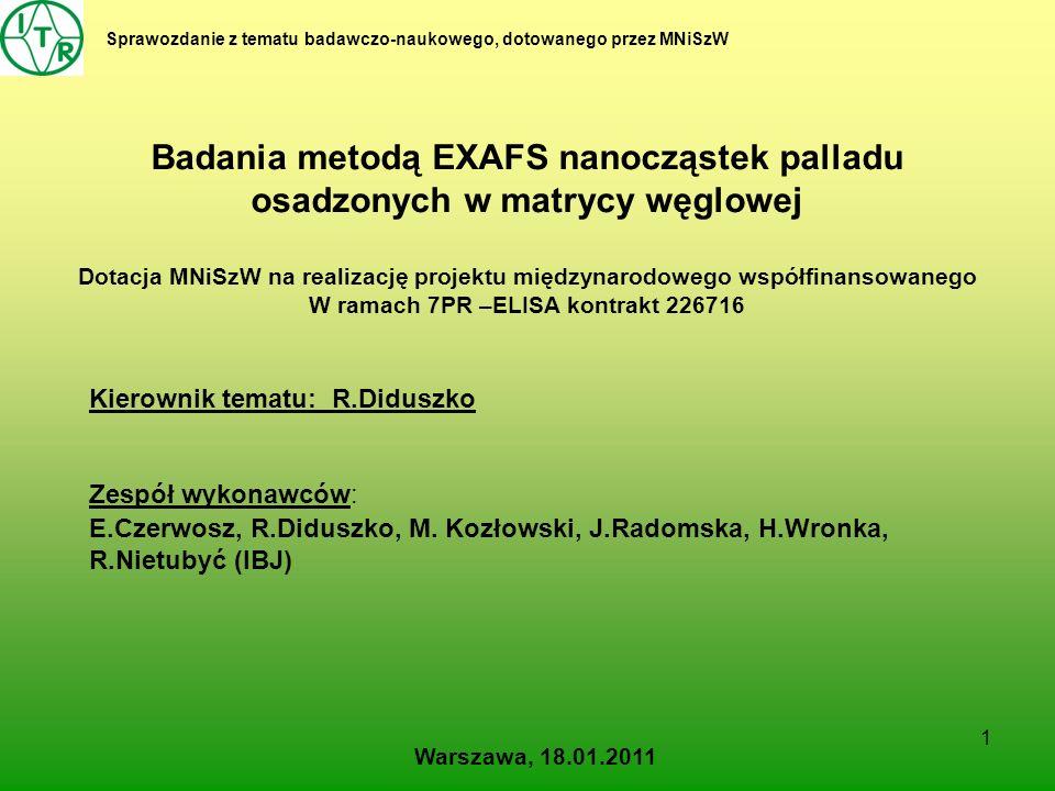 Badania metodą EXAFS nanocząstek palladu osadzonych w matrycy węglowej