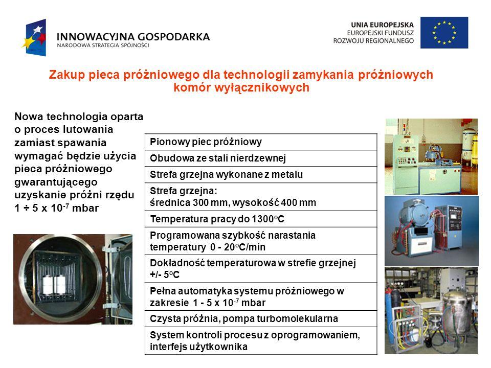 Zakup pieca próżniowego dla technologii zamykania próżniowych komór wyłącznikowych