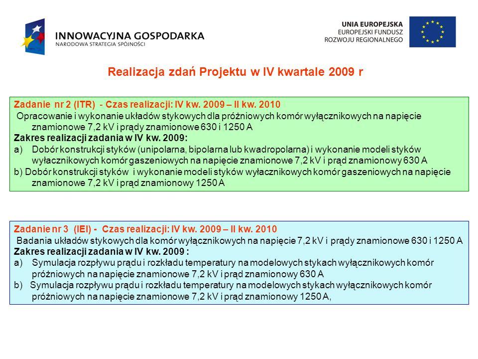 Realizacja zdań Projektu w IV kwartale 2009 r