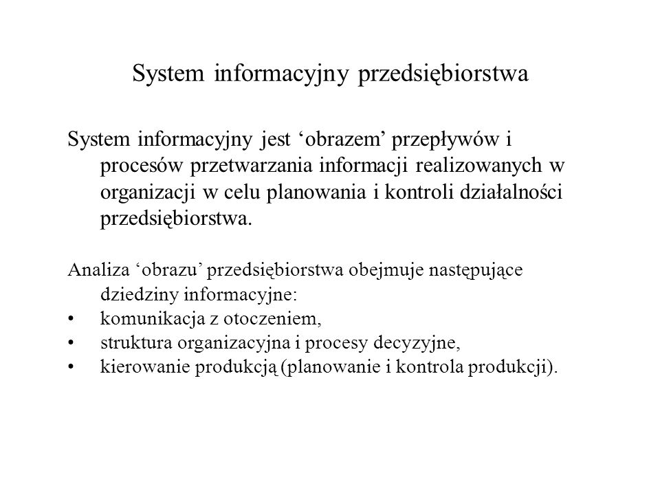 System informacyjny przedsiębiorstwa