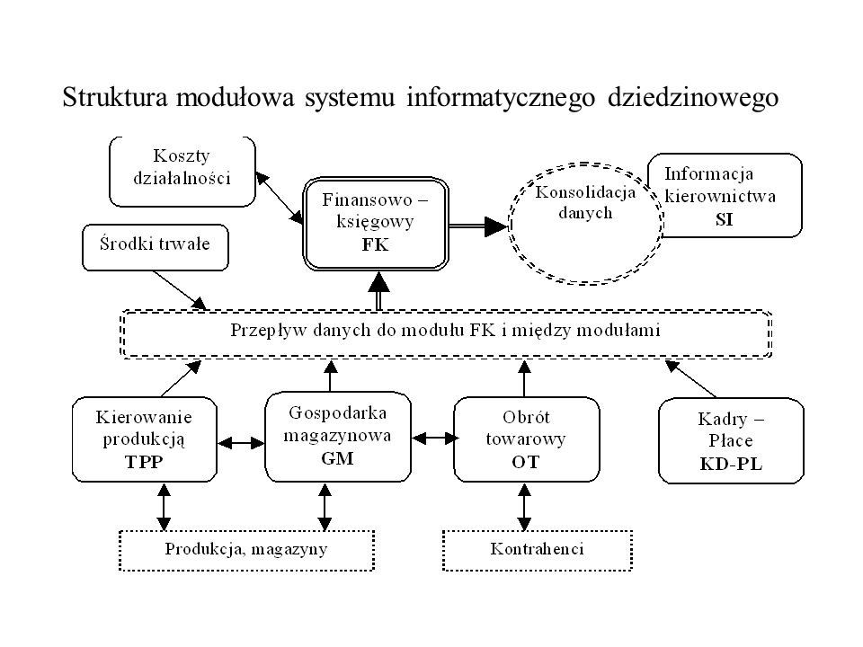 Struktura modułowa systemu informatycznego dziedzinowego