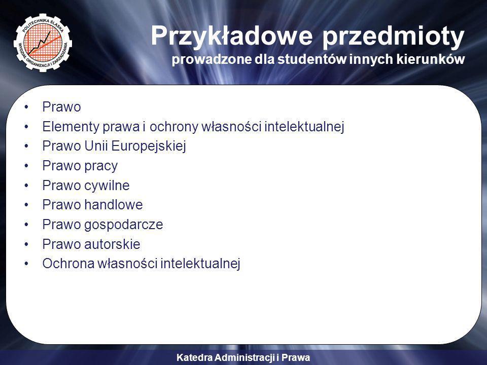 Przykładowe przedmioty prowadzone dla studentów innych kierunków