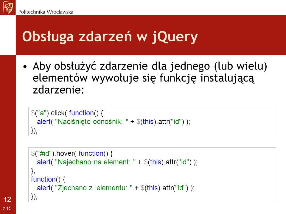 Obsługa zdarzeń w jQuery