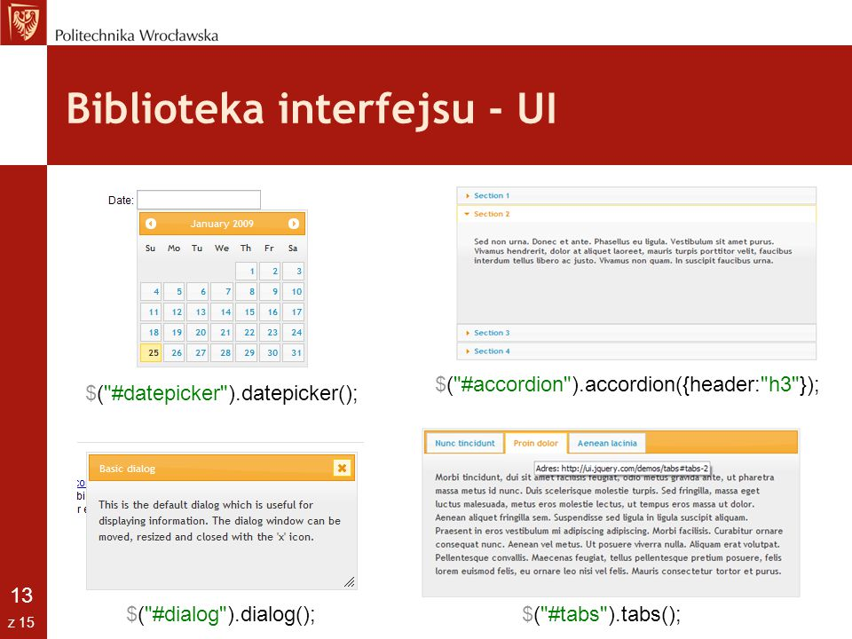 Biblioteka interfejsu - UI
