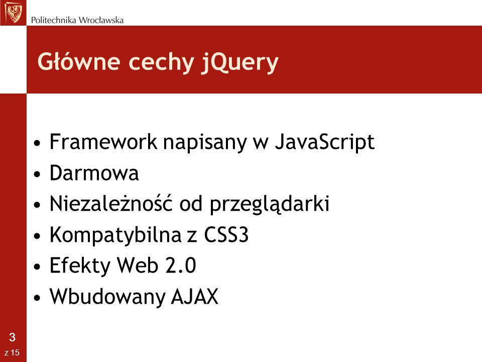 Główne cechy jQuery Framework napisany w JavaScript Darmowa