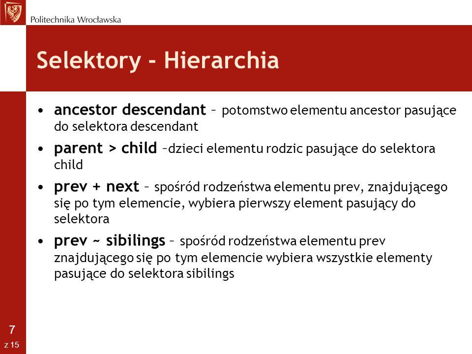 Selektory - Hierarchia