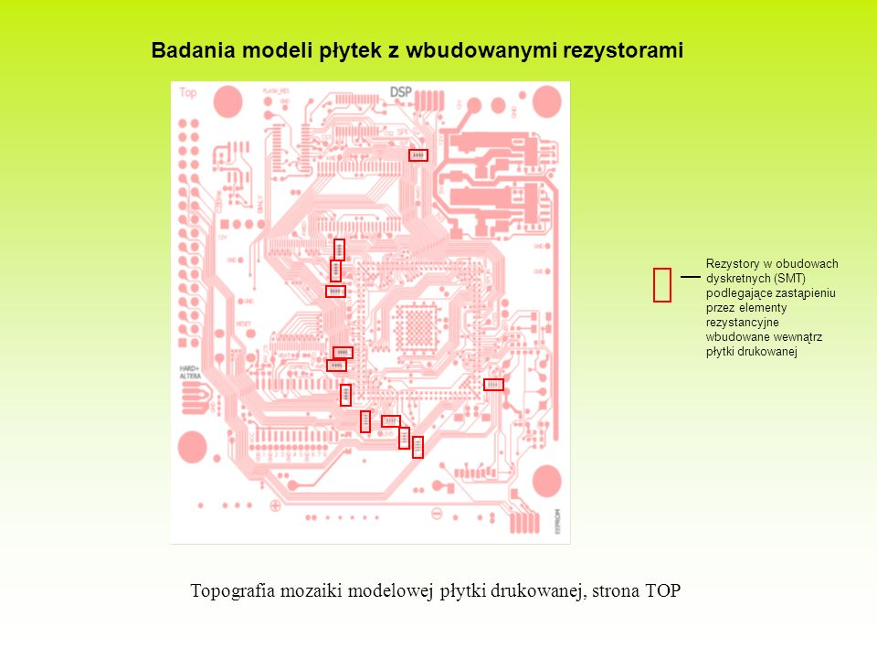 Badania modeli płytek z wbudowanymi rezystorami