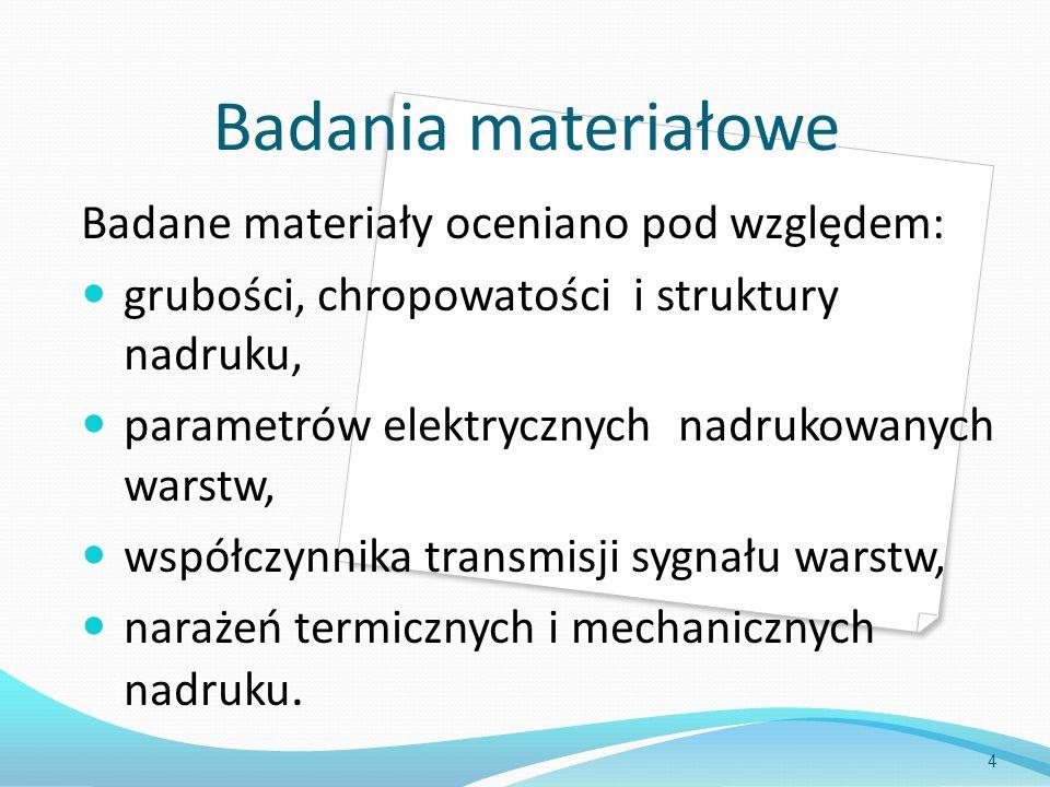 Badania materiałowe Badane materiały oceniano pod względem: