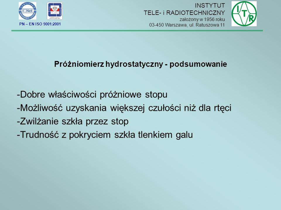 Próżniomierz hydrostatyczny - podsumowanie