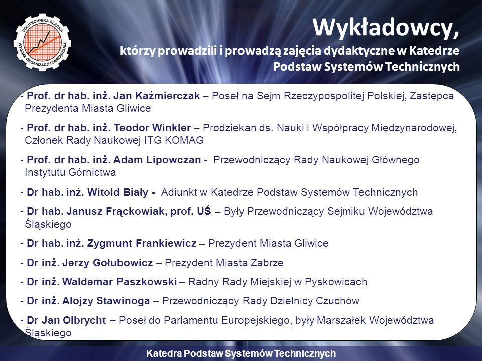 Wykładowcy, którzy prowadzili i prowadzą zajęcia dydaktyczne w Katedrze Podstaw Systemów Technicznych