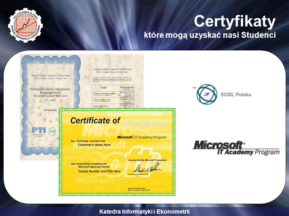 Certyfikaty które mogą uzyskać nasi Studenci