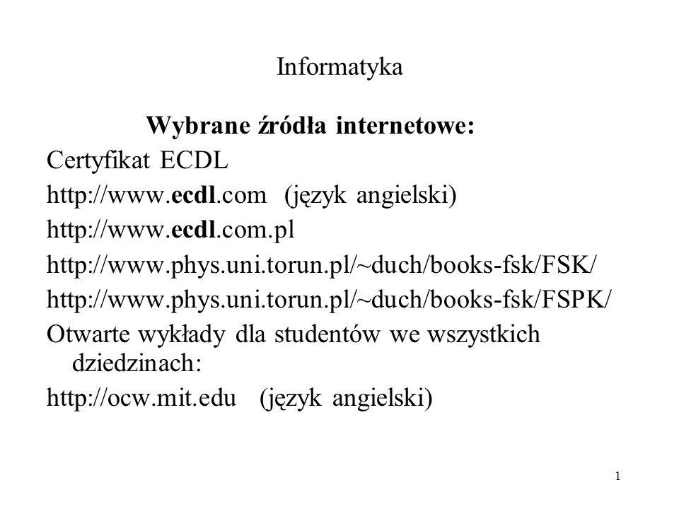 Informatyka Wybrane źródła internetowe: Certyfikat ECDL. http://www.ecdl.com (język angielski) http://www.ecdl.com.pl.