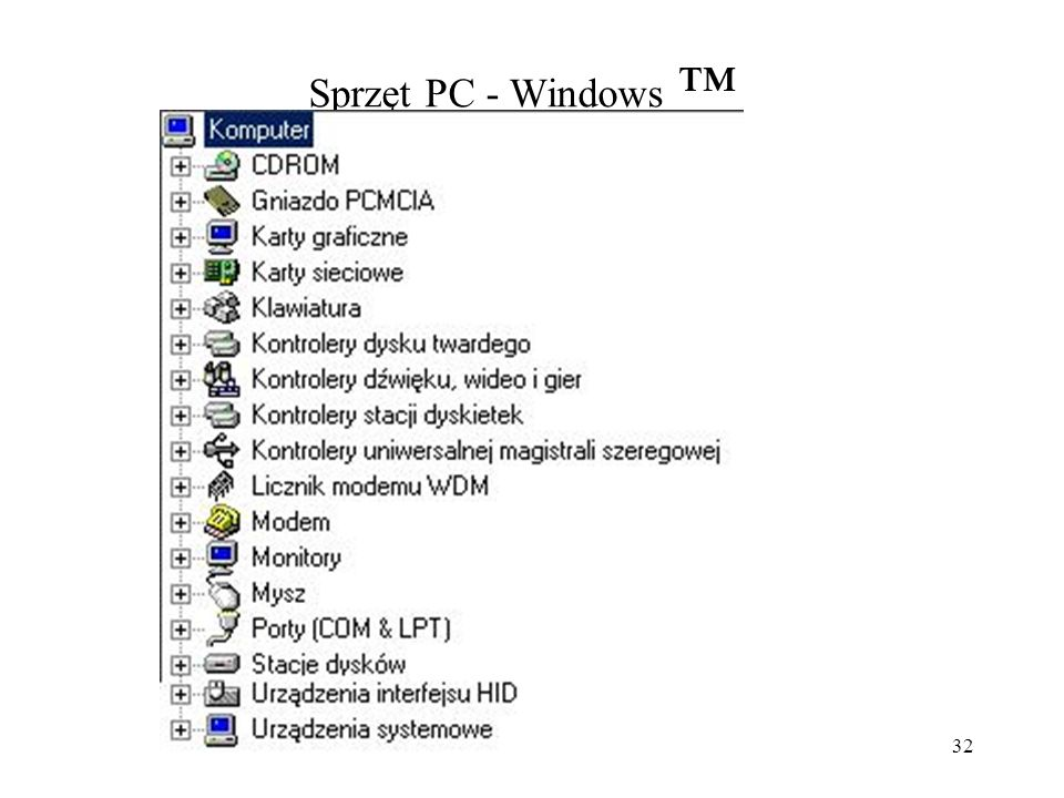 Sprzęt PC - Windows ™