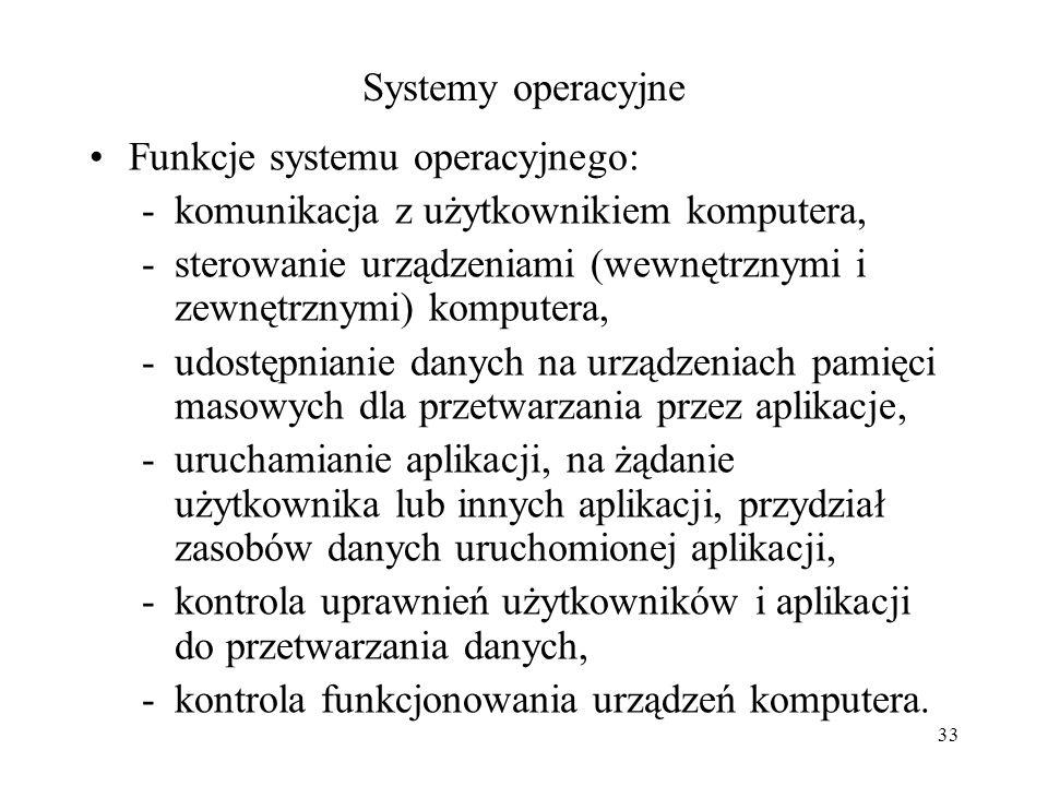 Systemy operacyjne Funkcje systemu operacyjnego: komunikacja z użytkownikiem komputera,