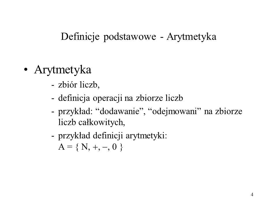 Definicje podstawowe - Arytmetyka