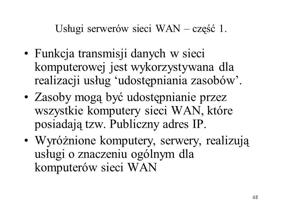 Usługi serwerów sieci WAN – część 1.
