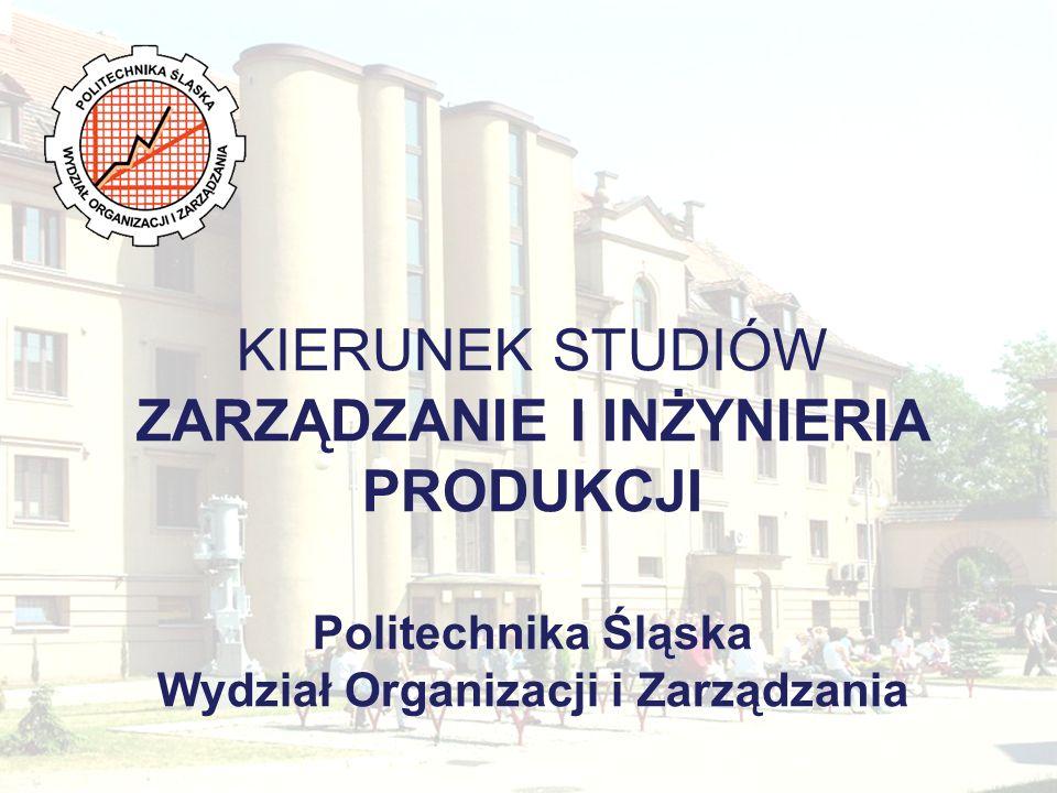 KIERUNEK STUDIÓW ZARZĄDZANIE I INŻYNIERIA PRODUKCJI Politechnika Śląska Wydział Organizacji i Zarządzania