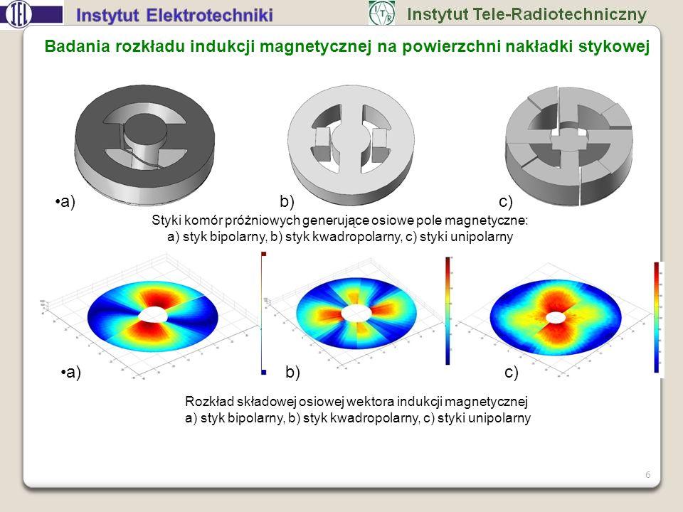 Badania rozkładu indukcji magnetycznej na powierzchni nakładki stykowej