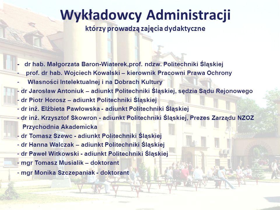 Wykładowcy Administracji którzy prowadzą zajęcia dydaktyczne