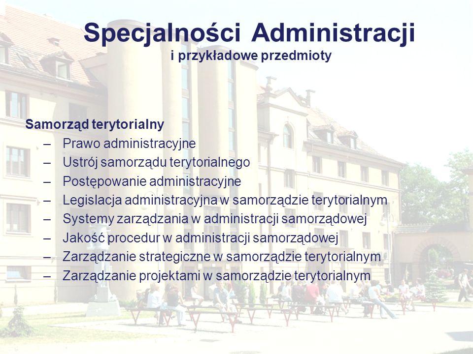 Specjalności Administracji i przykładowe przedmioty