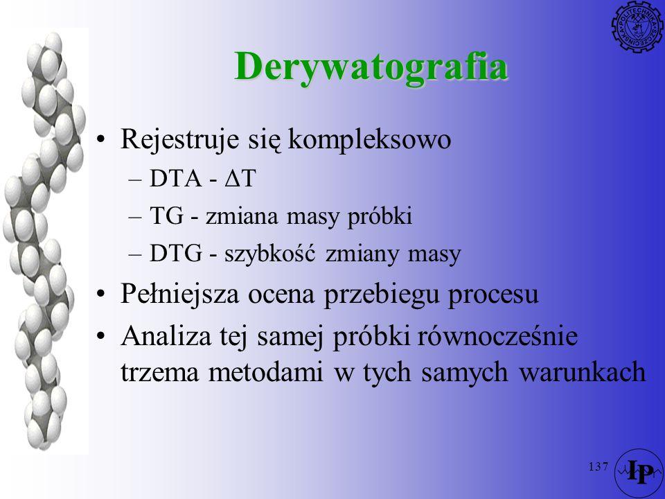 Derywatografia Rejestruje się kompleksowo