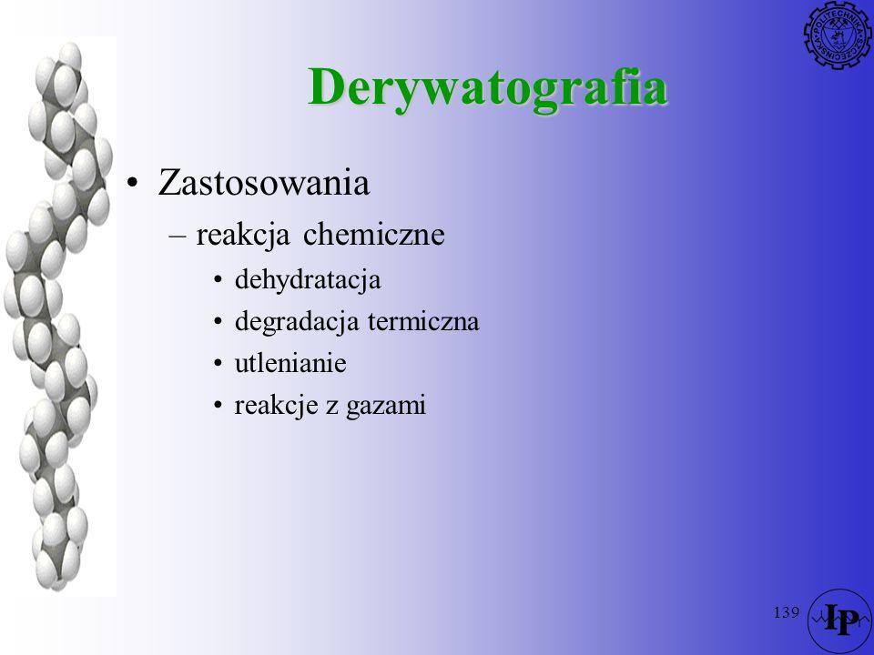 Derywatografia Zastosowania reakcja chemiczne dehydratacja