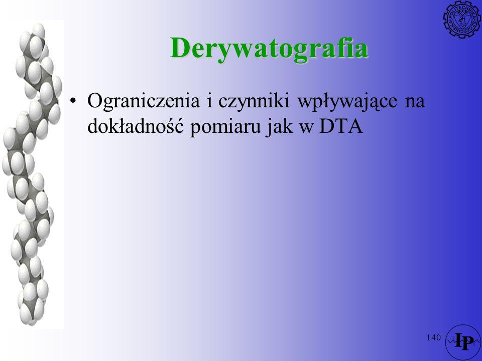 Derywatografia Ograniczenia i czynniki wpływające na dokładność pomiaru jak w DTA