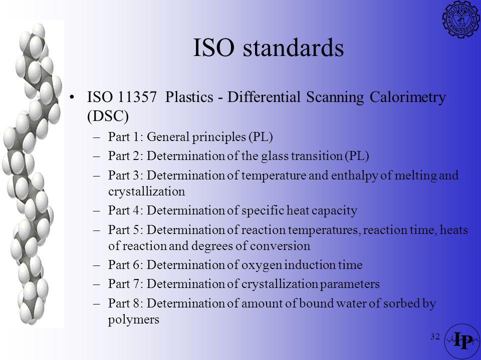 ISO standards ISO 11357 Plastics - Differential Scanning Calorimetry (DSC) Part 1: General principles (PL)