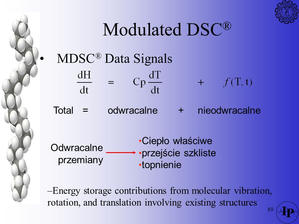 Modulated DSC® MDSC® Data Signals Total = odwracalne + nieodwracalne