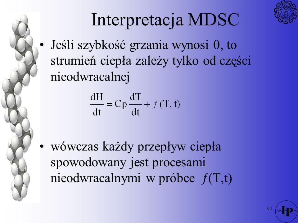 Interpretacja MDSC Jeśli szybkość grzania wynosi 0, to strumień ciepła zależy tylko od części nieodwracalnej.