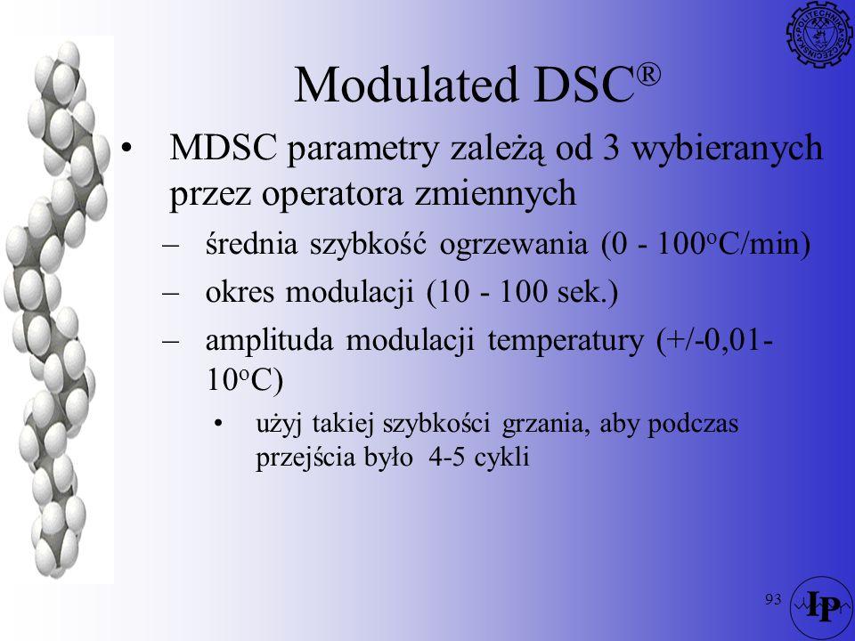 Modulated DSC® MDSC parametry zależą od 3 wybieranych przez operatora zmiennych. średnia szybkość ogrzewania (0 - 100oC/min)