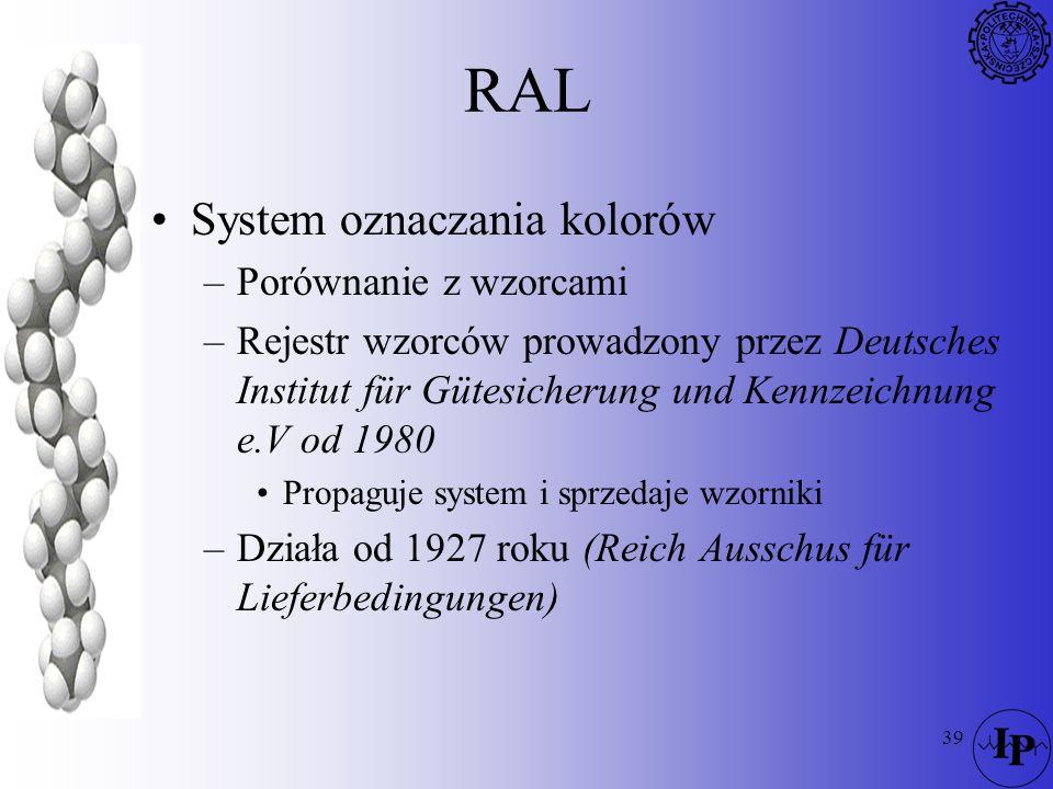 RAL System oznaczania kolorów Porównanie z wzorcami