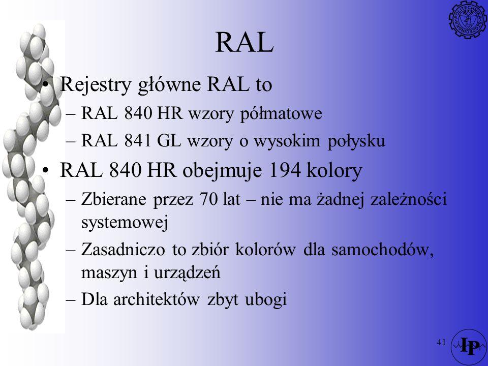 RAL Rejestry główne RAL to RAL 840 HR obejmuje 194 kolory