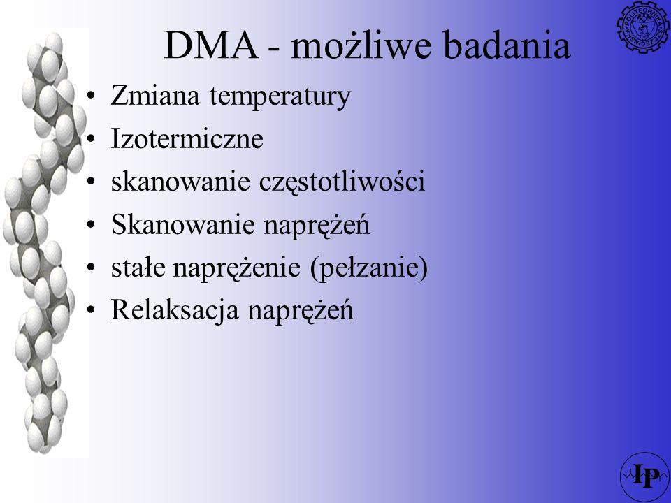 DMA - możliwe badania Zmiana temperatury Izotermiczne