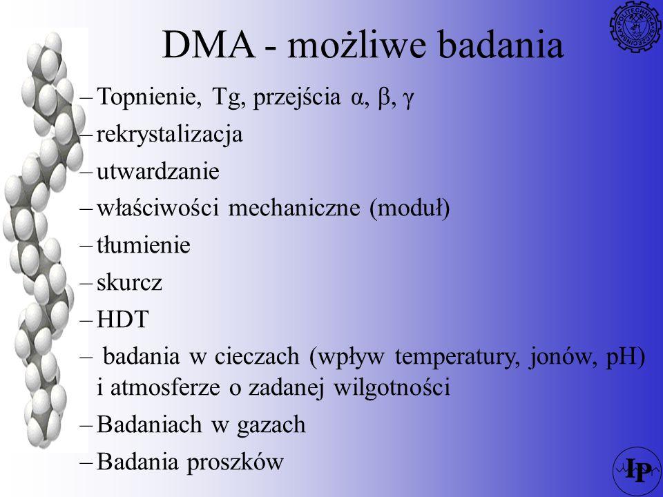 DMA - możliwe badania Topnienie, Tg, przejścia α, β, γ rekrystalizacja