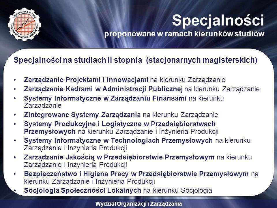 Specjalności proponowane w ramach kierunków studiów