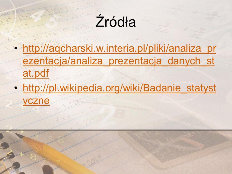 Źródła http://aqcharski.w.interia.pl/pliki/analiza_prezentacja/analiza_prezentacja_danych_stat.pdf.