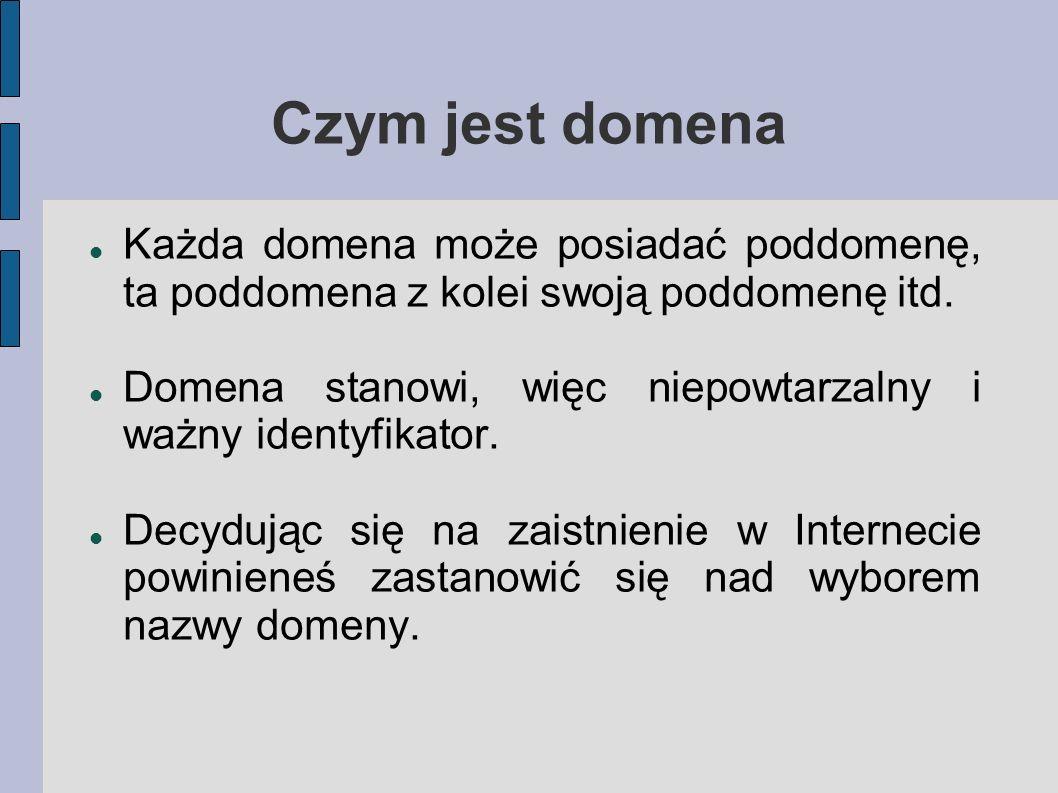 Czym jest domena Każda domena może posiadać poddomenę, ta poddomena z kolei swoją poddomenę itd.