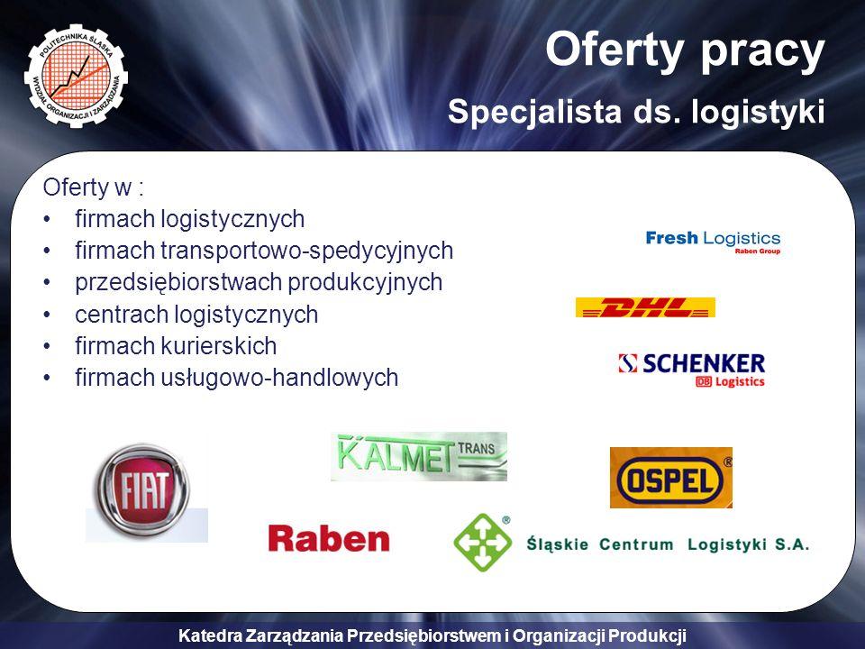 Oferty pracy Specjalista ds. logistyki