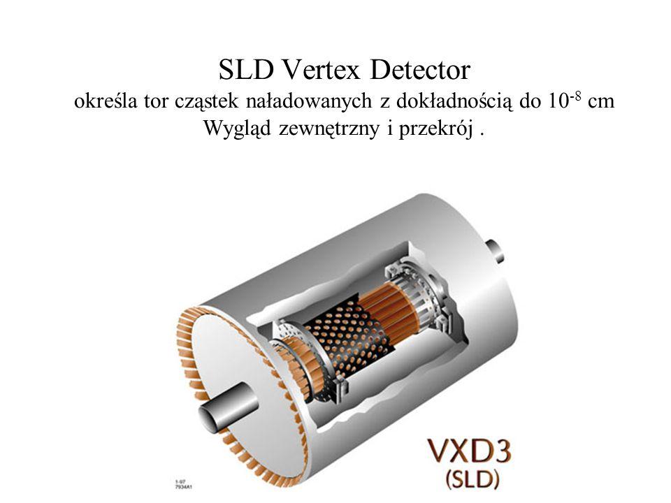 SLD Vertex Detector określa tor cząstek naładowanych z dokładnością do 10-8 cm Wygląd zewnętrzny i przekrój .