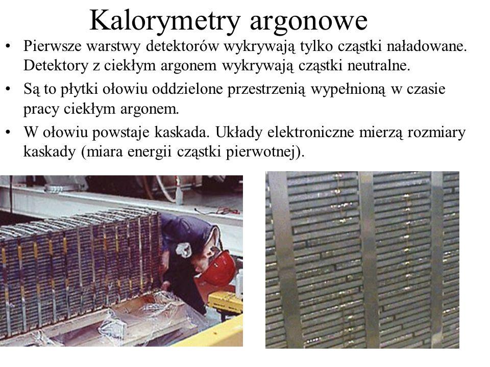 Kalorymetry argonowe Pierwsze warstwy detektorów wykrywają tylko cząstki naładowane. Detektory z ciekłym argonem wykrywają cząstki neutralne.