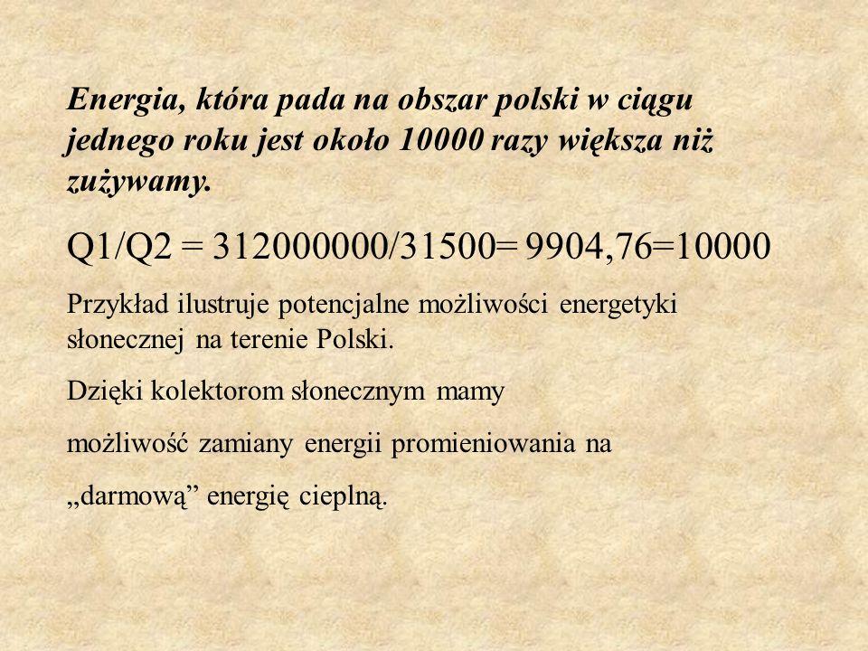 Energia, która pada na obszar polski w ciągu jednego roku jest około 10000 razy większa niż zużywamy.