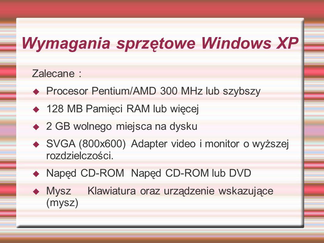 Wymagania sprzętowe Windows XP